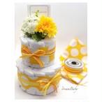 Dotty Yellow/ドット柄 イエロー 2段ダイパーケーキ