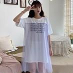 Tシャツワンピース 半袖 シースルー ロゴ文字 ゆったり 韓国ファッション オルチャンファッション