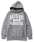 RAKUGAKI PARADISE UNIVERSITY Main Logo Pull Over Parka Gray x White