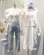 フードワンピース ワンピース スウェットワンピース 韓国ファッション