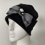 オーガニックコットン ストライプリボンとお花のケア帽子 黒