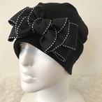 バタフライ型ステッチリボンのケア帽子 黒