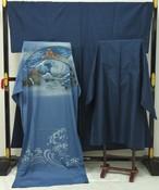 ☆5705☆ 中古品 本場大島紬 80亀甲 男物 アンサンブル 長襦袢セット