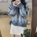 【tops】すがすがしい丸ネック菱形文芸スタイルセーター 23712263