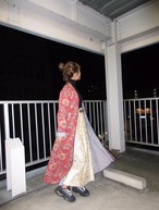 Vintage flower × stripe quilt gown coat 90's