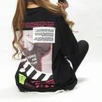 ストリート バックプリント バーコード×photo BIGTシャツ オーバーサイズ