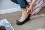 レインパンプス 3色 23.0〜25.5cm 靴 レインシューズ パンプス リボン ウエッジソール フェミニン デイリー 通勤 春夏