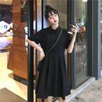チャイナ風ワンピース チャイナ風服 中華服 改良唐装 改良漢服 スタンドネック 半袖 ロング丈 可愛い 普段着 レトロ ブラック 黒い ホワイト 白い フリーサイズ 激安
