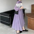【韓国レディースファッション】 6167 シンプル プリーツ シフォン ロング ワンピース 送料無料