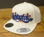 RAKUGAKI Main logo Snap Back Cap White x Blue/Red