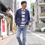 クルーネック半袖Tシャツ スペースボーダーT 涼感素材 ジャガード織り 【B】485-421