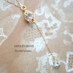 アクアマリン ピンクトルマリン ラベンダーアメジスト ハーキマーダイヤモンド K18 ネックレス 45cm調節可