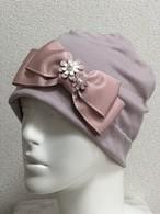 おリボンとお花のケア帽子 ピンク