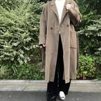 【即納】ウール製リバーコート|ブラウン