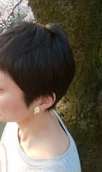 チヨフク限定 'ミルキーライム'/stud earring 'Milky Lime'