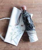 【ボタニカル刺繍】雨天兼用日傘(折りたたみ )(ELS47-mini WHT/ホワイト)