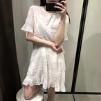 【dress】スウィートAライン無地半袖レースワンピース