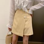 【bottoms】レトロ無地ボタン飾りカジュアルAラインスカート
