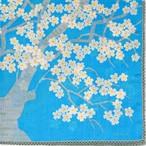 ひびのこづえ 桜の森の満開の下 / ブルー 大判ハンカチ 58x58cm KH19-04