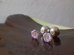 purple flower beads earrings