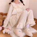 【パジャマ】元気いっぱい プリンセス ガーリッシュ 刺繍 切り替え 透かし彫り パジャマ34309198