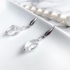 天然石crystal水晶のクリアピアス