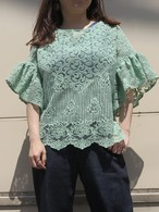 organdie lace patch frill blouse
