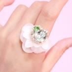 【リング.23】WHITE phantomFLOWER crystal