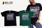 ボタニカル柄Tシャツ ブラック、グリーン