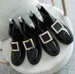 レザーブーツ スクエア ビジュー ラインストーン 厚底 黒 ブラック キラキラ おしゃれ かっこいい シューズ 韓国 韓国ファッション オルチャン オルチャンファッション P727