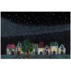 『Ornament a night』 夜空には色とりどりな星  幻想的な星空に彩られる街並みのイラスト  ポストカード