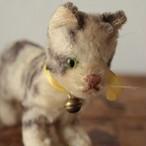 [n28]アンティークシュタイフ 猫 ネコのタビー Tabby 10cm
