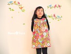 フランネルの子供服。鳥に花、ちょっぴりレトロなワンピース