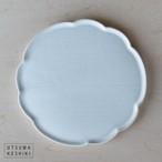 [黒木 泰等]白釉 鎬 輪花丸皿