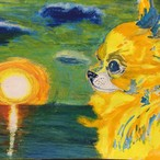絵画 インテリア アートパネル 雑貨 壁掛け 置物 おしゃれ スプレーアート パステル 水彩画 犬 動物 ロココロ 画家 : Artist 織田 堯 作品 : o-2