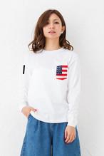 お揃い ペアルック 星条旗 プリント ポケット Tシャツ 長袖 | ビックポケット アメリカ USA 国旗 ギフト Tシャツ 5.6オンス ホワイト