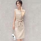 【dress】デートワンピースラウンドネック半袖リボン付きノースリーブ