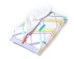 ティッシュケース-ソフトパック用 パステルクロス柄×白 パープル