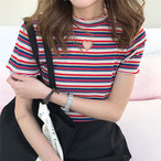 striped hart embroidery T shirts 1353