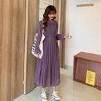 【送料無料】大人可愛い ♡ ガーリー フェミニン きれいめ くすみカラー 襟付き プリーツ シフォン フレア Aライン ワンピース