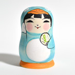 ペンギンこけし(水色) 約2.5寸 約7.6cm 阿保正文 工人(津軽系)#0019