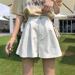 【bottoms】カジュアル切り替え無地ショートパンツ20483634