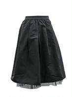 再入荷★裾チュールのフレアスカート ブラック