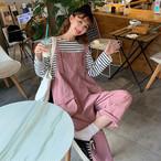 【set】[単品注文]カジュアルストライプ柄Tシャツ+パンツセットアップ22880604