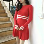 【dress】配色ニットワンピース着やせシンプル着回せるレディースワンピース