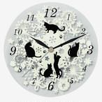 【ディアキャッツ】黒猫ガラス掛時計【猫柄 猫雑貨】