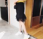 大人キュート☆ニットとチュールのIラインスカート(2カラー)