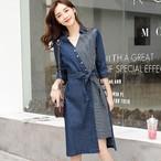 【dress】細見え折り襟七分袖不規則配色デニムワンピース