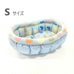 ふーじこちゃんママ手作り ぽんぽんベッド (サテンライトブルー・フリースハート柄) Sサイズ