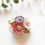 ※期間限定4/14まで【*Hanairo】3つのお花のブローチ(ピンク)